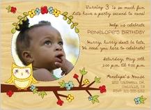 Birthday Party Invitation with photo - whimsey owl kid's photo birthday invite