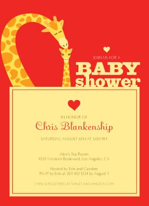 Baby Shower Invitation - Loving Giraffes