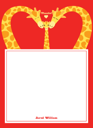 Baby Thank You Card - Loving Giraffes