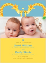 Birth Announcement with photo - loving giraffes: twins