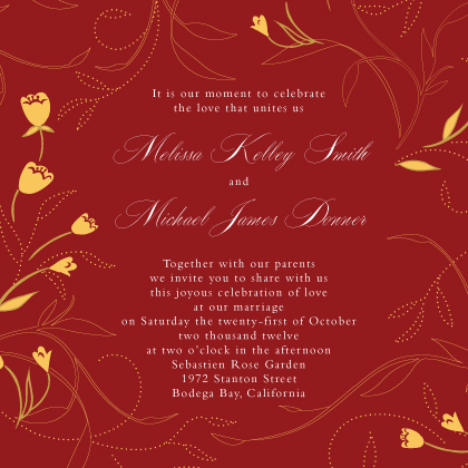 Wedding Invitation - Tulip Swirls Border