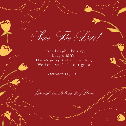 Save the Date Card - Tulip Swirls Border