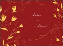 Wedding Thank You Card - tulip swirls border