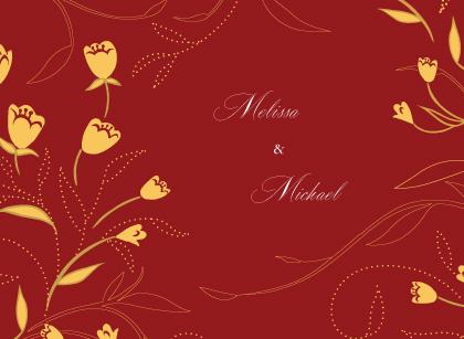 Wedding Thank You Card - Tulip Swirls Border