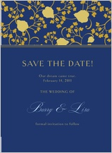 Save the Date Card - begonia leaves lattice