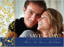 Save the Date Card with photo - begonia leaves lattice