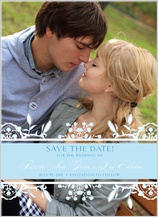 Save the Date Card with photo - ornate lilies