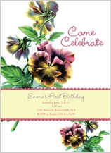 Birthday Party Invitation - pansy pretty