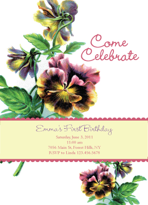 Birthday Party Invitation - Pansy Pretty
