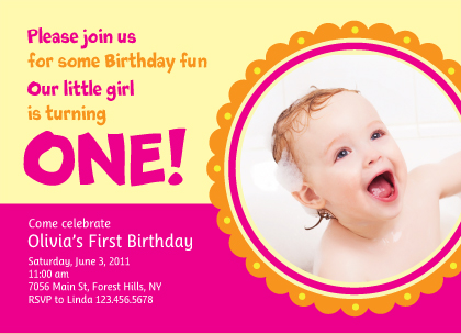 Birthday Party Invitation with photo - Turning One!
