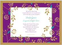 Wedding Invitation - golden flowers