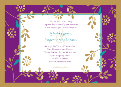 Wedding Invitation - Golden Flowers