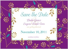 Save the Date Card - golden flowers