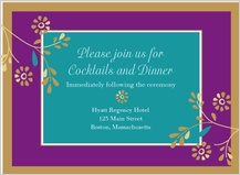 Reception Card - golden flowers