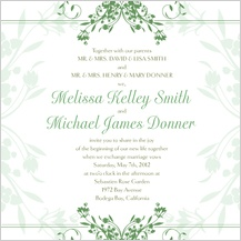 Wedding Invitation - tulip scrolls