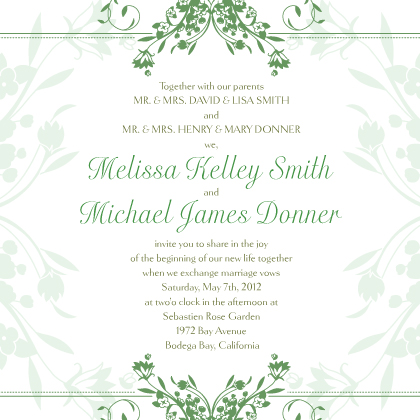 Wedding Invitation - Tulip Scrolls