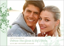 Save the Date Card with photo - tulip scrolls