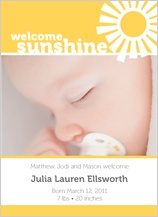 Birth Announcement - welcome sunshine