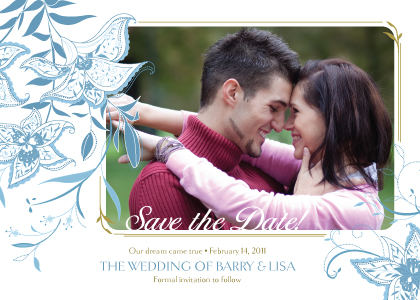 Save the Date Card with photo - Summer Lilies
