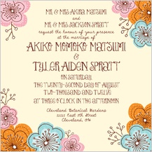 Wedding Invitation - doodle floral