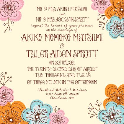 Wedding Invitation - Doodle Floral