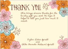 Wedding Thank You Card - doodle floral