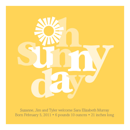 Birth Announcement - Oh Sunny Day
