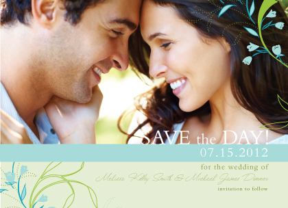 Save the Date Card with photo - Tulip Bouquets