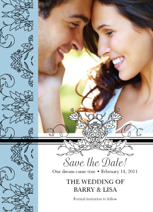 Save the Date Card with photo - Lace and Ribbon