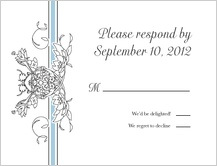 Response Card - lace and ribbon