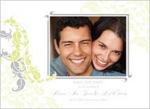 Save the Date Card with photo - leafy vines