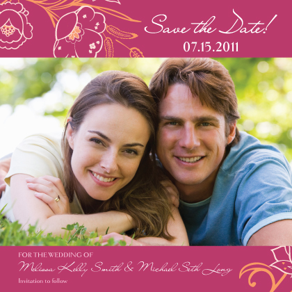 Save the Date Card with photo - Blooming Branches