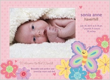 Birth Announcement with photo - bugs