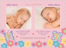 Multiples Birth Announcement with photo - bugs