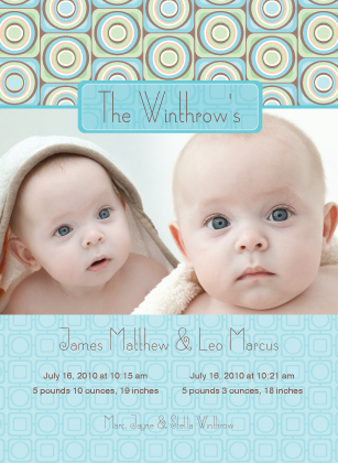 Multiples Birth Announcement with photo - Spark
