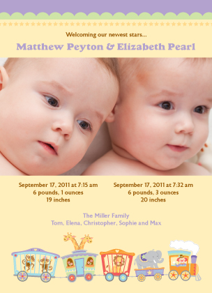 Multiples Birth Announcement with photo - Circus
