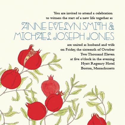 Wedding Invitation - Pomegranates