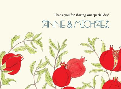Wedding Thank You Card - Pomegranates