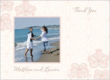 Wedding Thank You Card with photo - fleur de lis