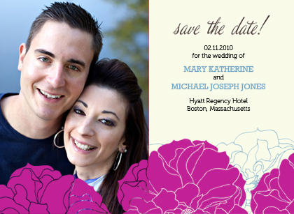 Save the Date Card with photo - Stylized Roses