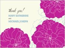 Wedding Thank You Card - stylized roses