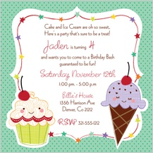 Birthday Party Invitation - sweet treats childrens birthday invite