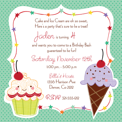 Birthday party invitations cards birthday party announcements sweet treats childrens birthday invite card detail stopboris Images
