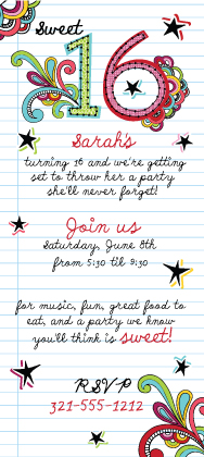 Birthday Party Invitation - Notebook Doodles Sweet 16 Birthday Invite