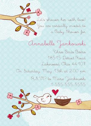 Baby Shower Invitation - Mommy Bird Nesting Baby Shower Invite