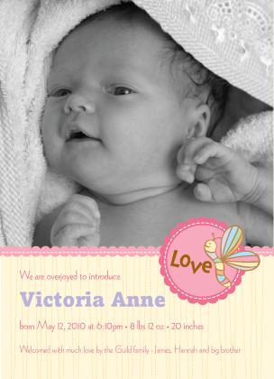 Birth Announcement with photo - Cutie Pie