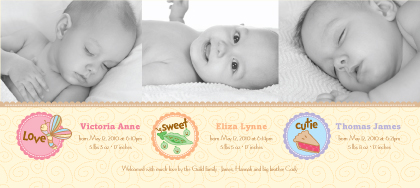 Multiples Birth Announcement with photo - Cutie Pie 2