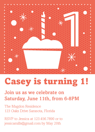 Birthday Party Invitation - Cupcake Celebration