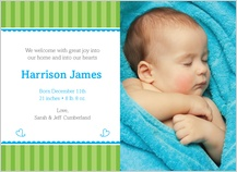 Birth Announcement with photo - bundle of joy (baby boy)
