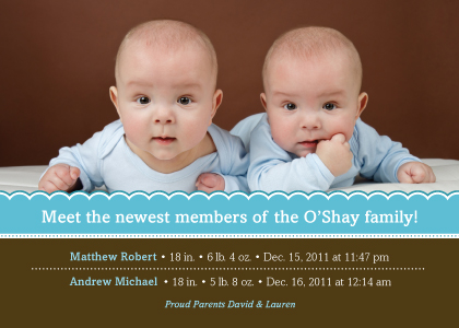 Multiples Birth Announcement with photo - Special Delivery (Twins!)